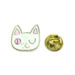 White Enamel Cat Head Lapel Pin
