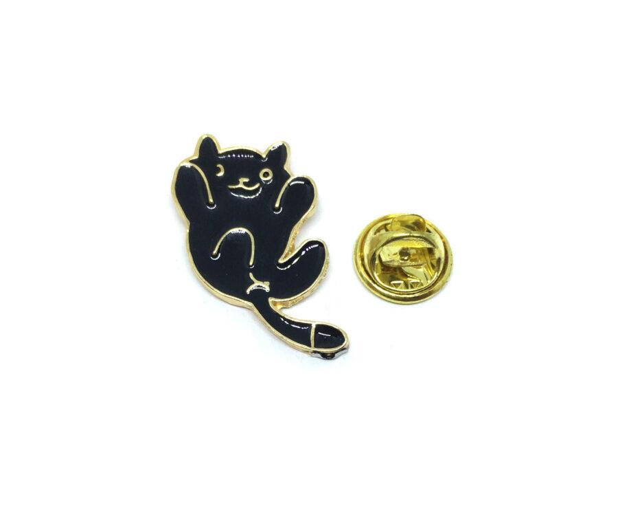 Gold tone Black Enamel Cat Lapel Pin
