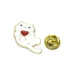 Gold tone White Enamel Cat Lapel Pin