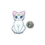 White Enamel Cute Cat Lapel Pin