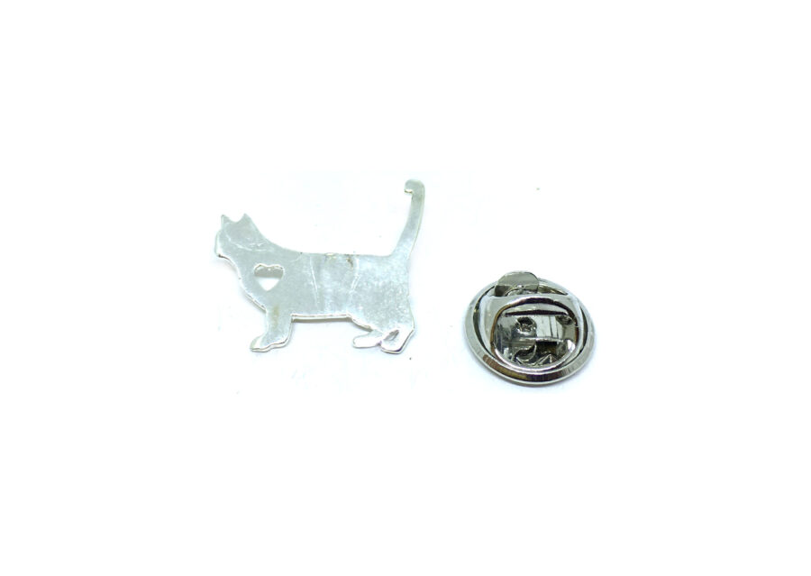 Silver plated Cat Lapel Pin
