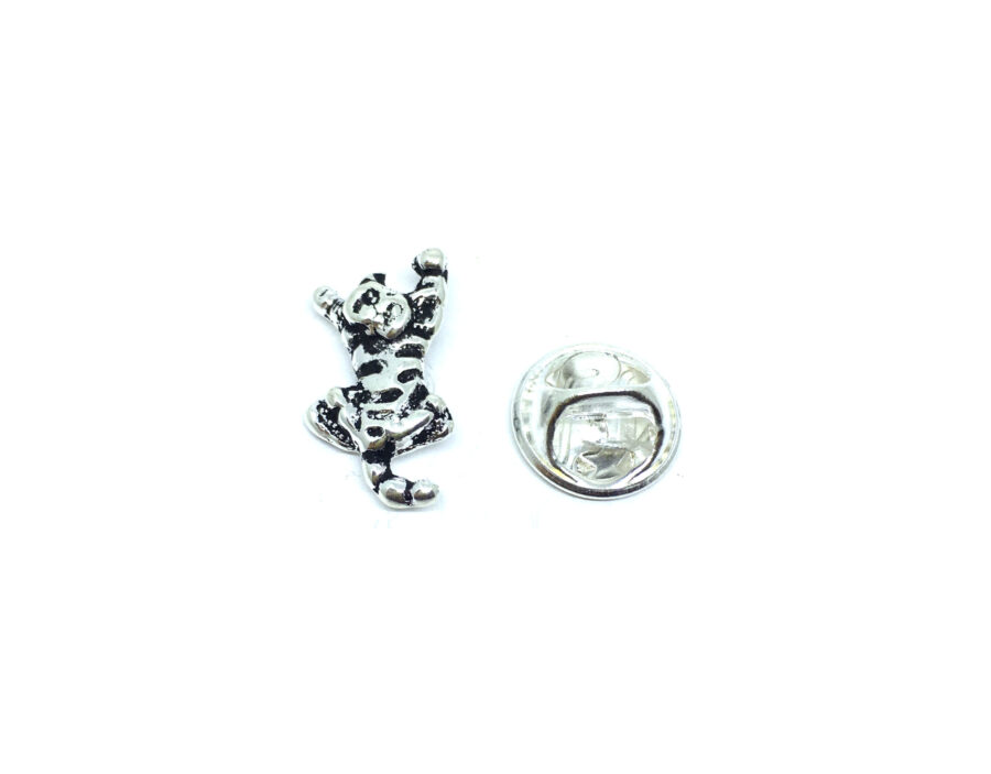 Silver plated Antique Cat Lapel Pin
