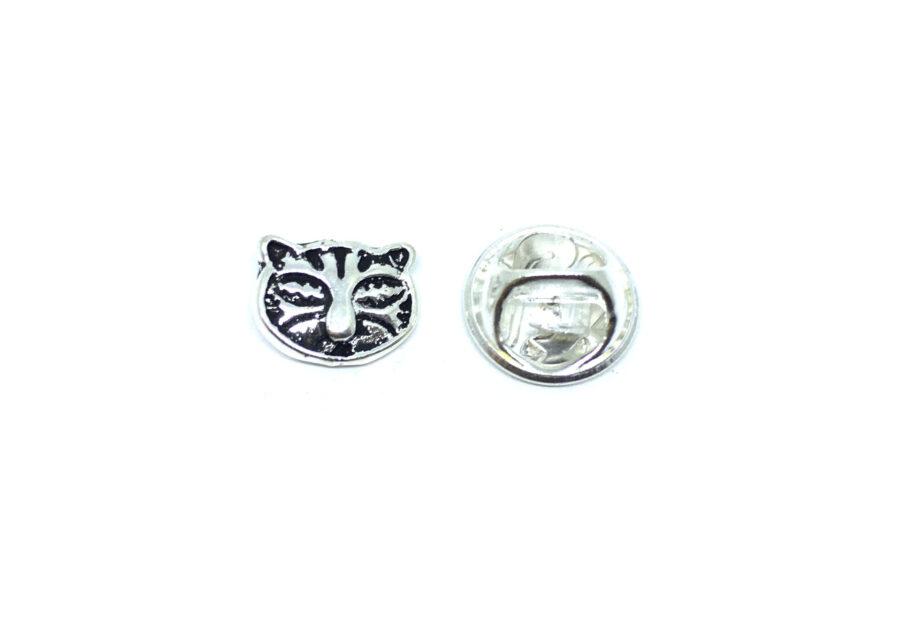 Silver tone Antique Cat Lapel Pin