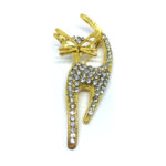 Gold plated Crystal Cat Brooch Pin