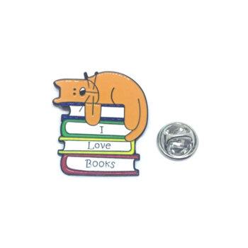 I Love Book Cat Lapel Pin