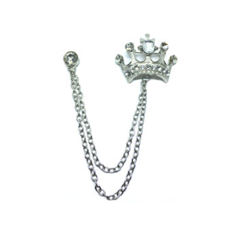 Crystal Charm chain with Crown Lapel Pin