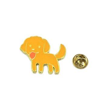 Orange Enamel Dog Lapel Pin