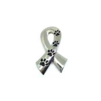 Silver Plated Ribbon Dog Brooch Pin