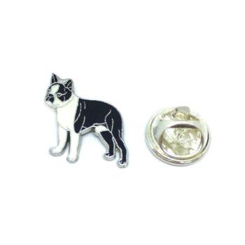 Silver plated White & Black Enamel Dog Lapel Pin