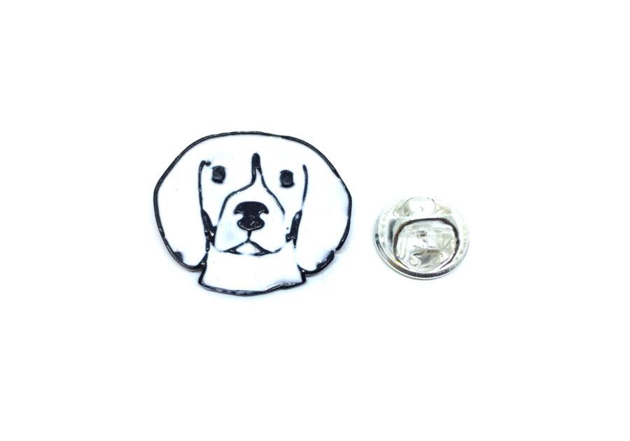 White Enamel Dog Lapel Pin