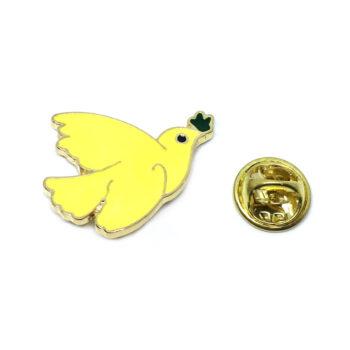 Yellow Enamel Dove Lapel Pin