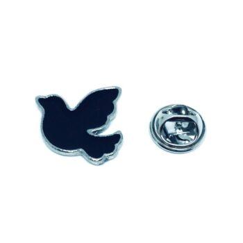 Black Enamel Dove Lapel Pin