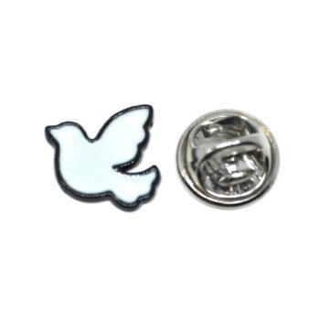 Black plated White Enamel Dove Lapel Pin