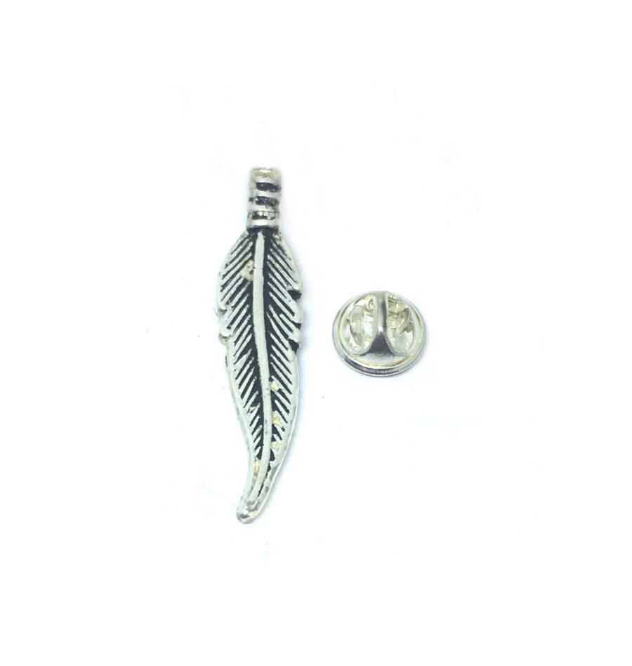 Oxidize Feather Lapel Pin