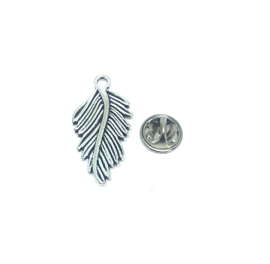 Oxidize Silver plated Feather Lapel Pin