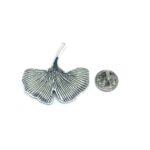 Oxidize Silver tone Feather Lapel Pin