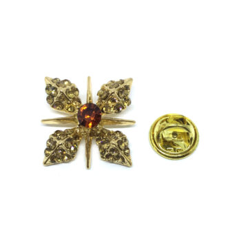 Crystal Flower Lapel Pin