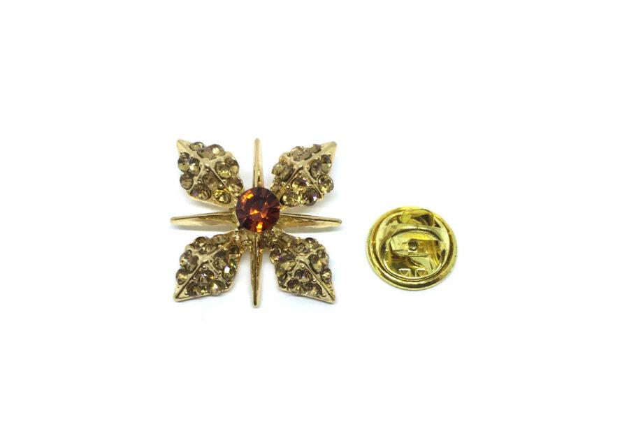 Crystal Flower Lapel Pin