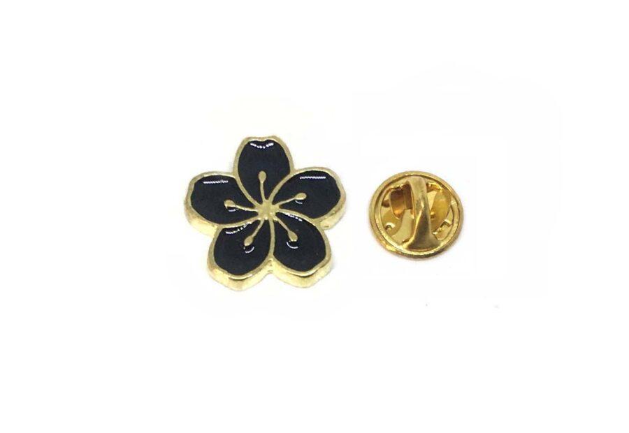 Black Enamel Flower Lapel Pin