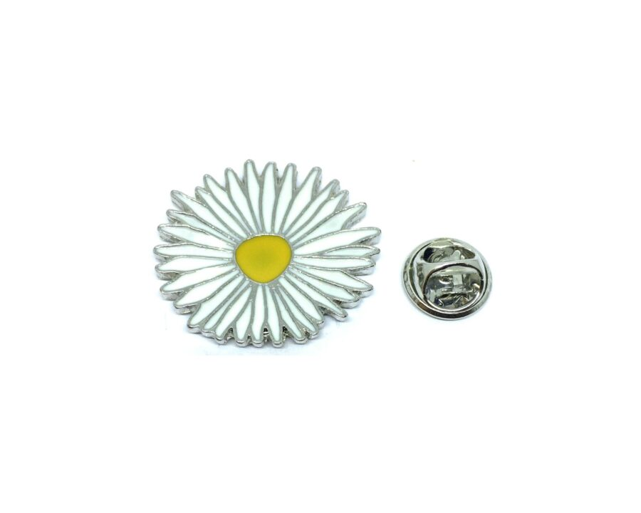 White Enamel Flower Lapel Pin
