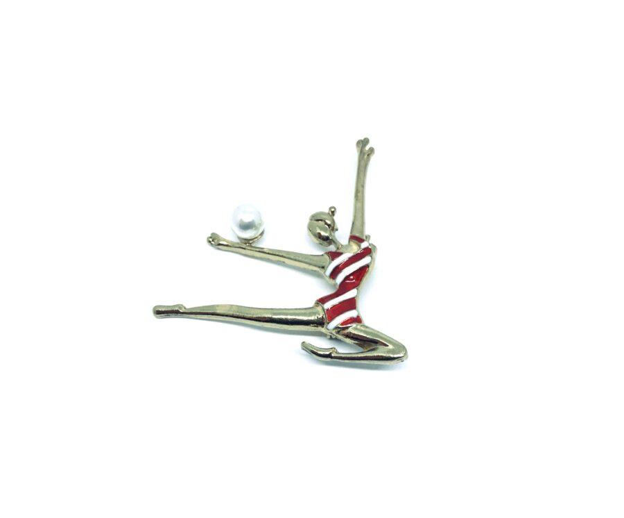 Enamel Gymnastics Girl Brooch Pin