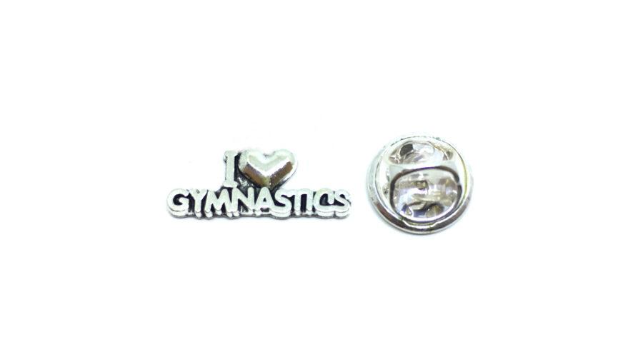 I Love Gymnastics Lapel Pin