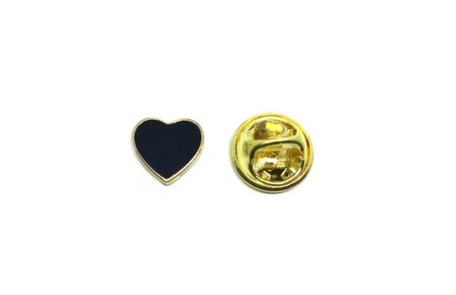 Tiny Black Enamel Heart Lapel Pin