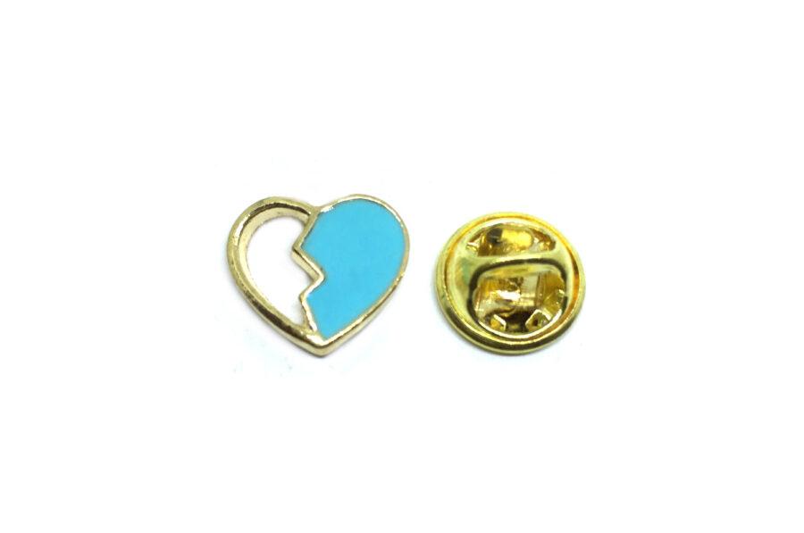 Blue Enamel Heart Lapel Pin