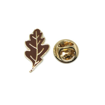 Brown Enamel Leaf Lapel Pin