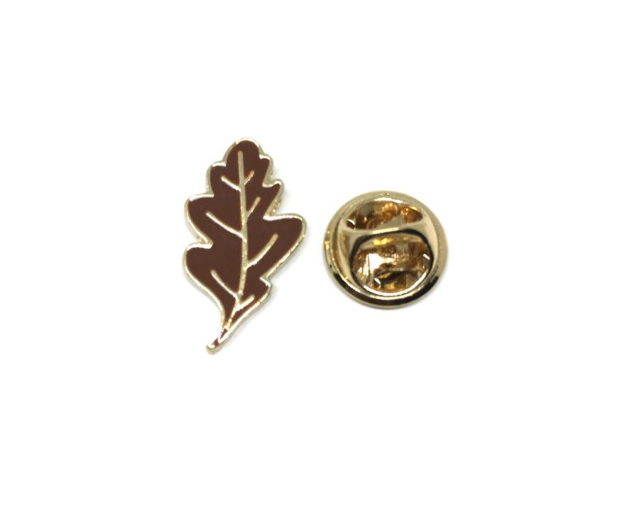 Brown Enamel Leaf Lapel Pin