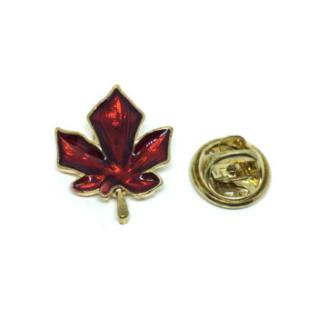 Red Enamel Leaf Lapel Pin