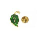 Gold plated Green Enamel Leaf Lapel Pin