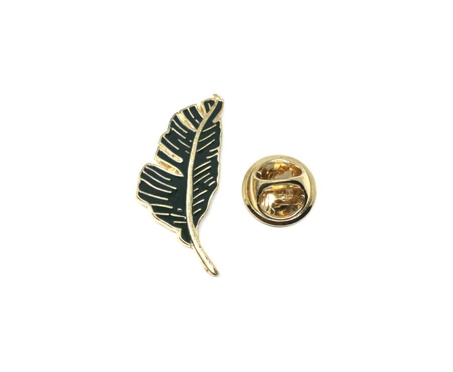 Dark Green Enamel Leaf Lapel Pin