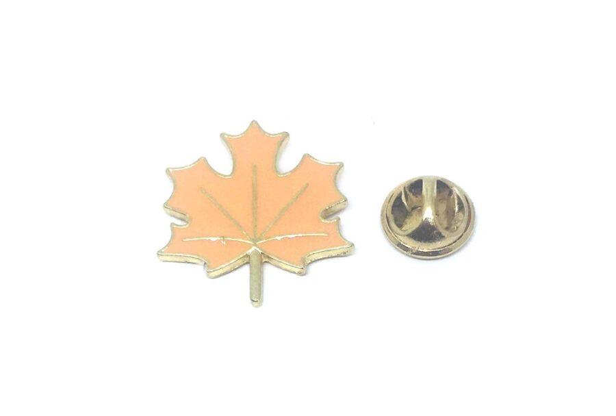 Orange Enamel Leaf Lapel Pin