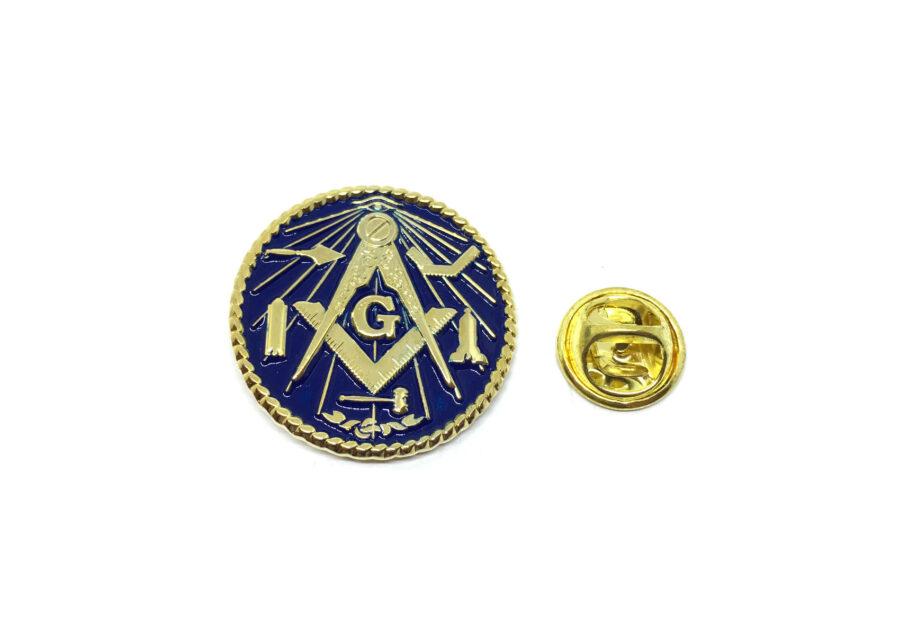 Blue Enamel Masonic Lapel Pin