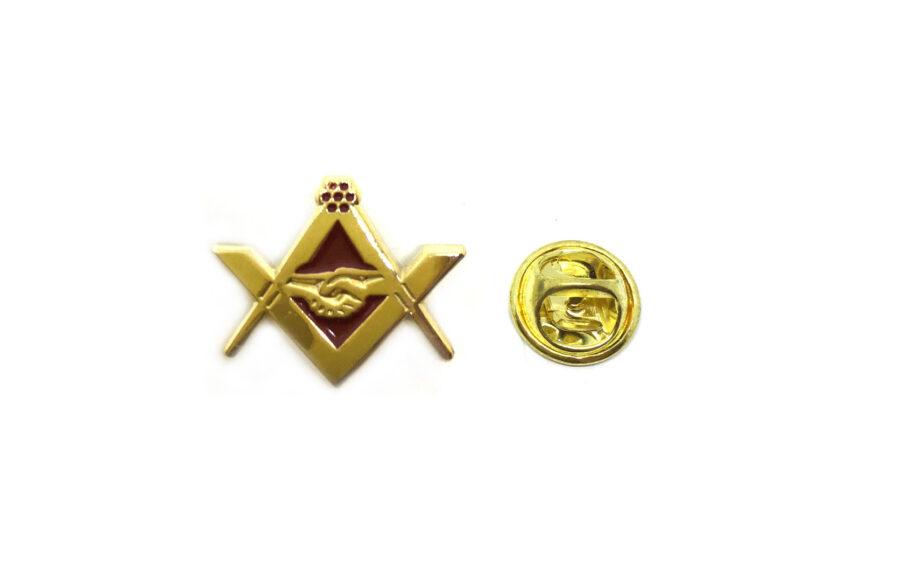 Gold tone Enamel Masonic Lapel Pin