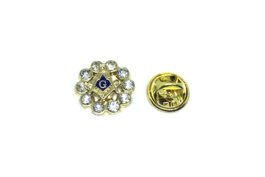 Rhinestone Masonic Lapel Pin