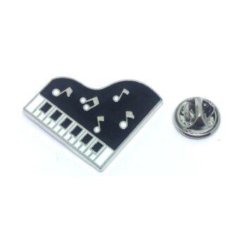 Black Enamel Music Lapel Pin