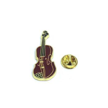 Red Enamel Violin Lapel Pin