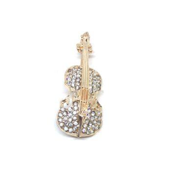 Crystal Violin Brooch Pin