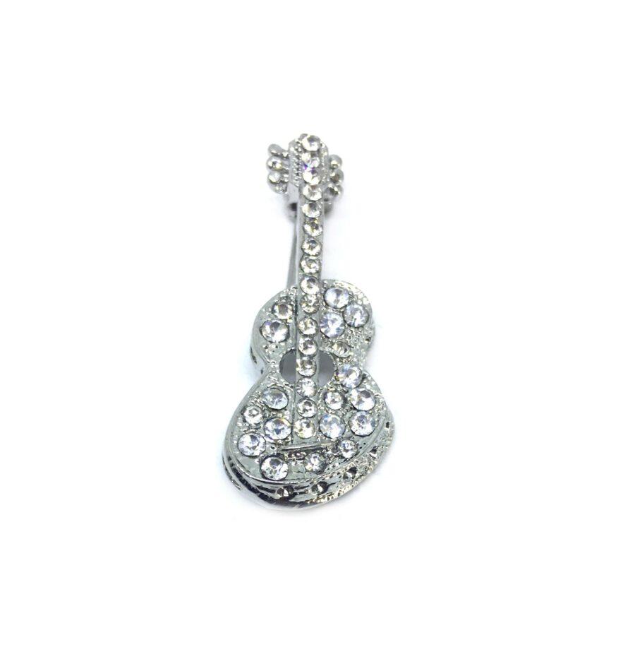 Crystal Guitar Lapel Pin