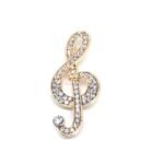 Crystal Treble Clef Brooch Pin