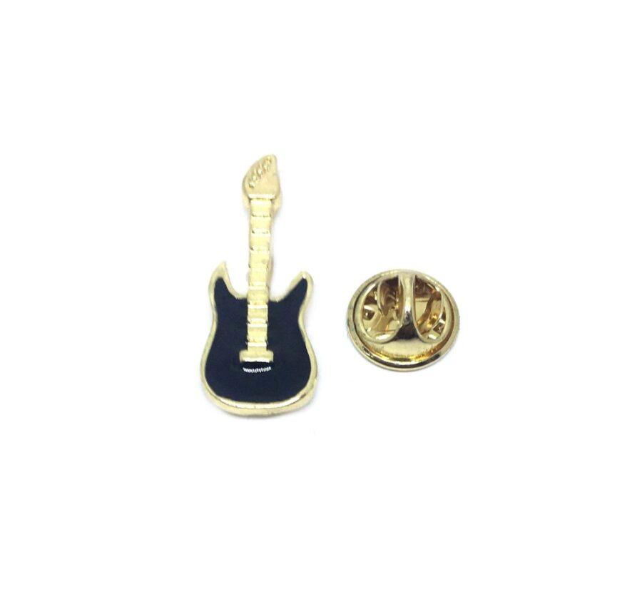 Black Enamel Guitar Lapel Pin