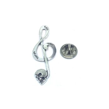 Skull Treble Clef Music Lapel Pin