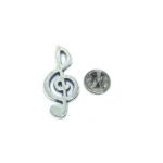 Silver plated Treble Clef Music Pin