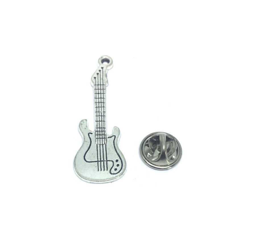 Silver plated Guitar Music Pin
