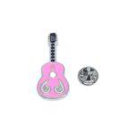 Pink Enamel Guitar Lapel Pin