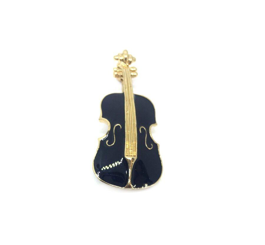 Black Enamel Violin Music Lapel Pin