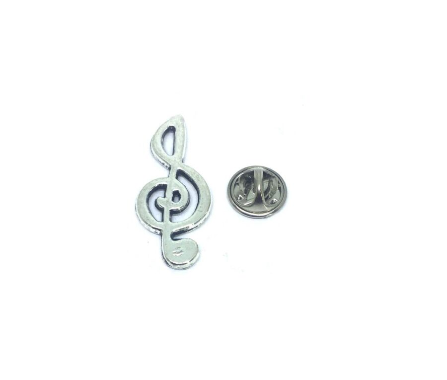 Silver plated Treble Clef Lapel Pin