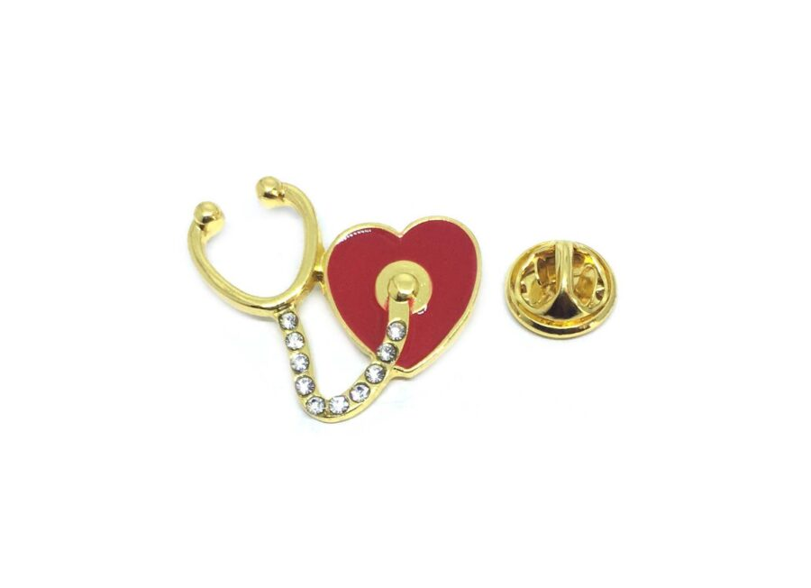 Heart with Stethoscope Lapel Pin
